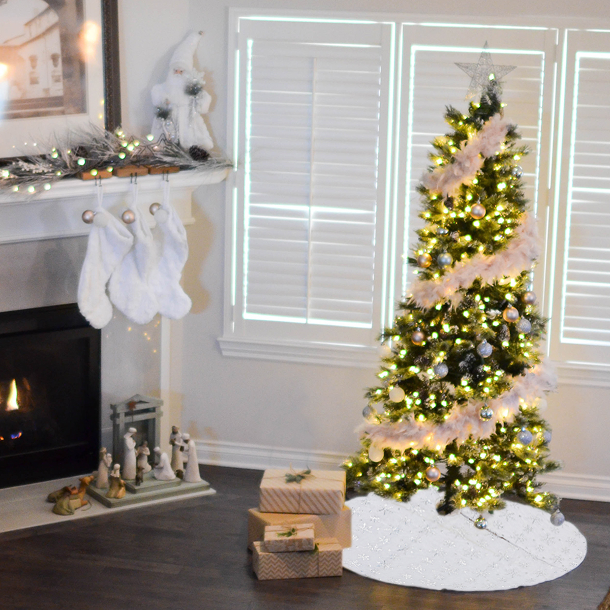 90/120cm Christmas Tree Skirt Tree Skirt Mat Under The Tree Christmas Decorations for Home Snowflake 2020 Christmas Tree Foot Carpet