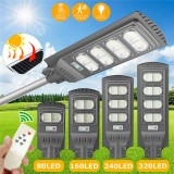 80/160/240/320LEDs Solar Street Light Motion Radar Sensor Outdoor Yard Wall Lamp Road Floodlight +Remote Control