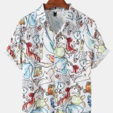 Mens Cartoon Marine Life Print Casual Chest Pocket Lapel Collar Short Sleeve Shirts