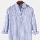 Mens Pinstripe Logo Cotton Casual Long Sleeve Shirts With Flap Pocket
