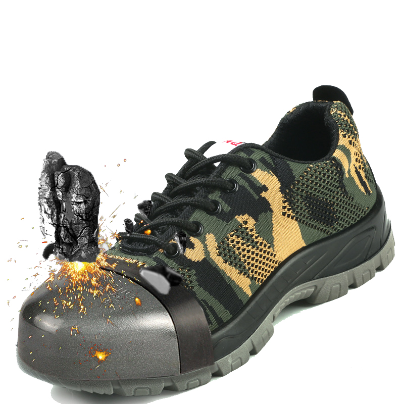 Men Breathable Work Safety Shoes Anti-smashing Steel Toe Cap Boots Puncture Proof Anti-slip Construction Safety Boots