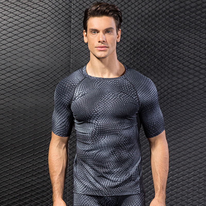 YUERLIAN Men Compression Shirts Fitness Training Tights Dry Fit Sport Tops Tracksuits Jogging Sportswear Short Sleeve Bodybuilding Tops