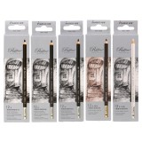 Marco 12Pcs Wood Drawing Sketch Pencil Set Soft Charcoal Pencils Pen Black White Brown for Student Sketching Professional Art Supplies