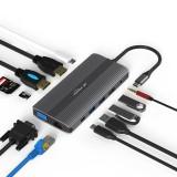 Blueendless 12-in-1 Triple Display USB-C HUB Docking Station Adapter With 4K HDMI / 4K DP / 1080P VGA / 100W USB-C PD Power Delivery / RJ45 Gigabit Ethernet / USB-C Data Transfer Port / USB 3.0 * 2 / USB 2.0 / 3.5mm Audio Jack / Memory Card Readers