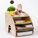 A4 Curved Wooden Desktop Storage Rack Multifunction File Shelf Drawer Home Office Desktop Sundries Organizer Supplies