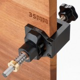 Drillpro Aluminum Alloy 35mm Hinge Jig with Clamp Forsnter Drill Bit Drilling Guide Hole Punch Locator Kit Woodworking Cabinet Door Installation Hole Locator