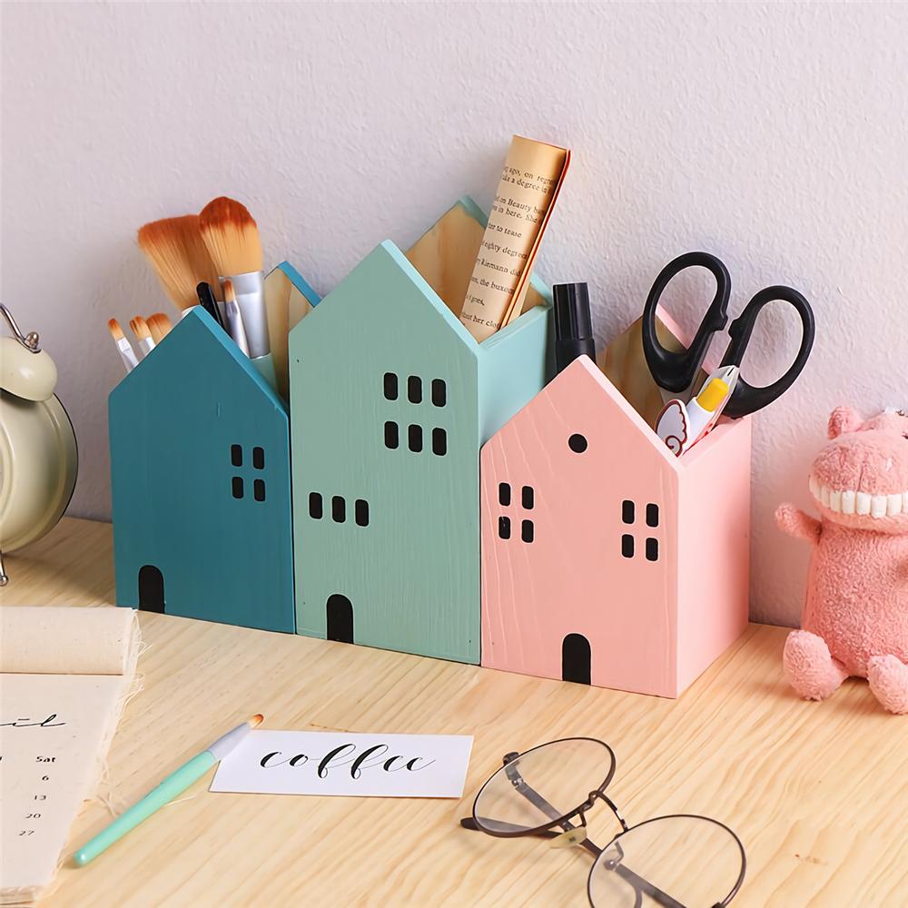 House Shape Wood Pen Holder Desk Organizer Storage Box Storage Case School Office Desk Accessories Stationery Supplies