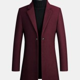 Mens Mid Long Warm Woolen Thick Pocket Long Sleeve Lapel Trench Coats