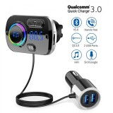 Bakeey BC49BQ bluetooth 5.0 USB Car Charger FM Transmitter Handsfree Car Kit Music Receiver Adapter LED Display Quick Charging For iPhone XS 11Pro MI10 Note 9S