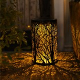 LED Solar Lantern Hanging Light with Handle Solar Lantern Waterproof Solar Landscape Lantern Shadow Light for Outdoor Garden Hollow