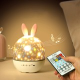 Music Box Starry Sky Projection Lamp LED Romantic Dream Rotating Cute Rabbit Night Light New Strange Children's Birthday Gift