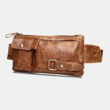 Men Genuine Leather Business Outdoor Retro Multi-carry Leather 6.3 Inch Phone Bag Waist Bag Chest Bag
