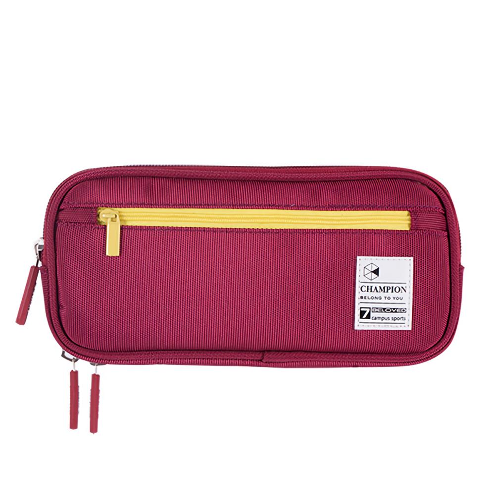 Deli 66724 Zipper Pencil Case Large Capacity Creative Canvas Twill Pen Box School Students Pencil Bag Storage Stationery Supplies