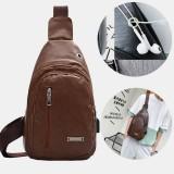 Men PU Leather Earphone Hole Multi-carry Waterproof Crossbody Bag Chest Bag Sling Bag