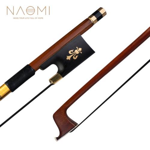 NAOMI IPE Bow 4/4 Size Violin Bow Round Stick Lizard Skin Grip Black Horsehair W/ Ebony Frog Violin/ Fiddle Bow