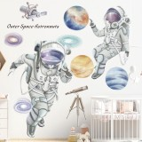 Space Theme Astronaut Wall Sticker Dormitory Living Room Wall Decor Self-Adhesive Bedroom 3D Kids Room Decoration