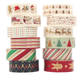 12 Rolls Paper Stickers Label Christmas Gift Decoration DIY Creative Masking Tape Christmas Gift Decoration Label Package Seal Paper Stickers