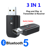 ENKAY SY318 bluetooth 5.0 Audio Receiver Transmitter Adapter 3.5mm Jack AUX USB Stereo Music Wireless Adapter for TV Car PC Headphones