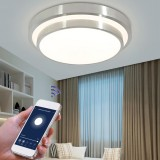 48W WIFI Smart Ceiling Light Double Layer Round LED Ceiling Lamp for Bedroom Living Room Balcony Aisle AC85V-265V APP Control Works With Alexa Google Home IFFFT