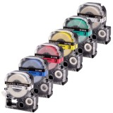 CIDY 1Roll 9/12/18/24mm 3D Embossing PVC Label Tape Compatible Epson/KingJim Label Cassette Business Office Printer Supplies
