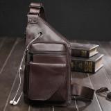 Men Genuine Leather Retro Multifunction Earphone Hole Crossbody Bag Chest Bag Sling Bag