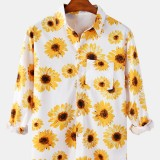 Mens Daisy Print Chest Pocket Button Up Long Sleeve Holiday Style Shirts