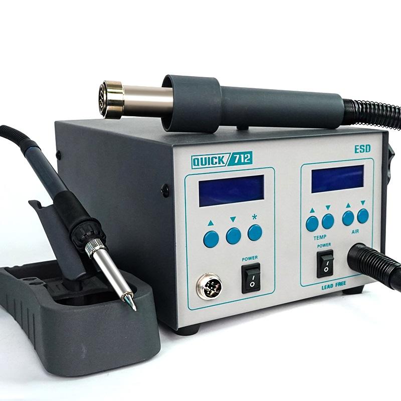 QUICK 712 2 in 1 Soldering Station Hot Air Spear Rework Station Digital Display Adjustable Soldering Iron for PCB Soldering Repair