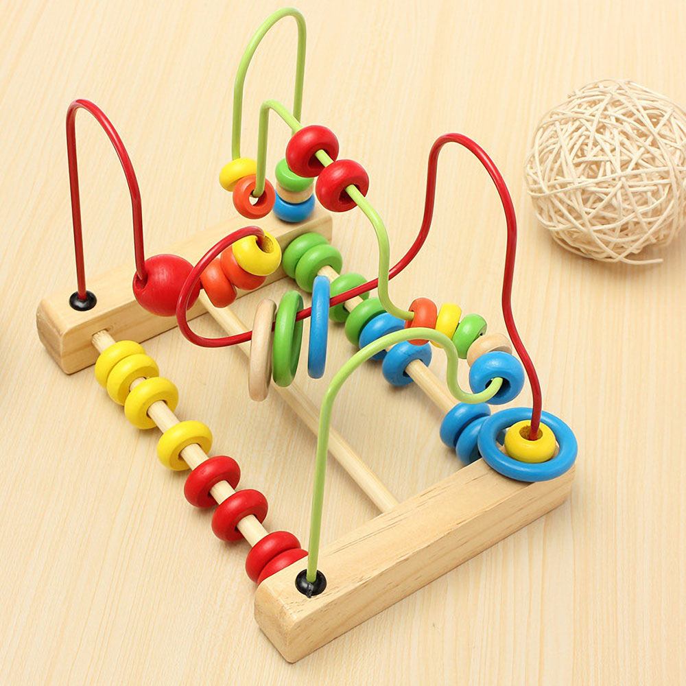 Toddlers Bead Maze Roller Toys Wooden Children Abacus Beads Game Preschool Educational Toy Gift for Boys Girls Baby