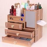 3 Layers Desktop Storage Box Cosmetics Holder Large Capacity Wooden Desktop Organizer Storage Rack with 5 Drawers