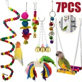 7Pcs/Set Combination Parrot Toy Bird Articles Parrot Bite Toy Parrot Funny Swing Ball Bell Standing Training Toys