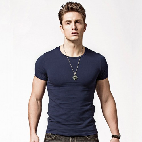Men's Quick-drying T-shirt Short-sleeved Slim Solid Color Tee Shirt V-neck Summer Thin Outdoor Sport Clothing