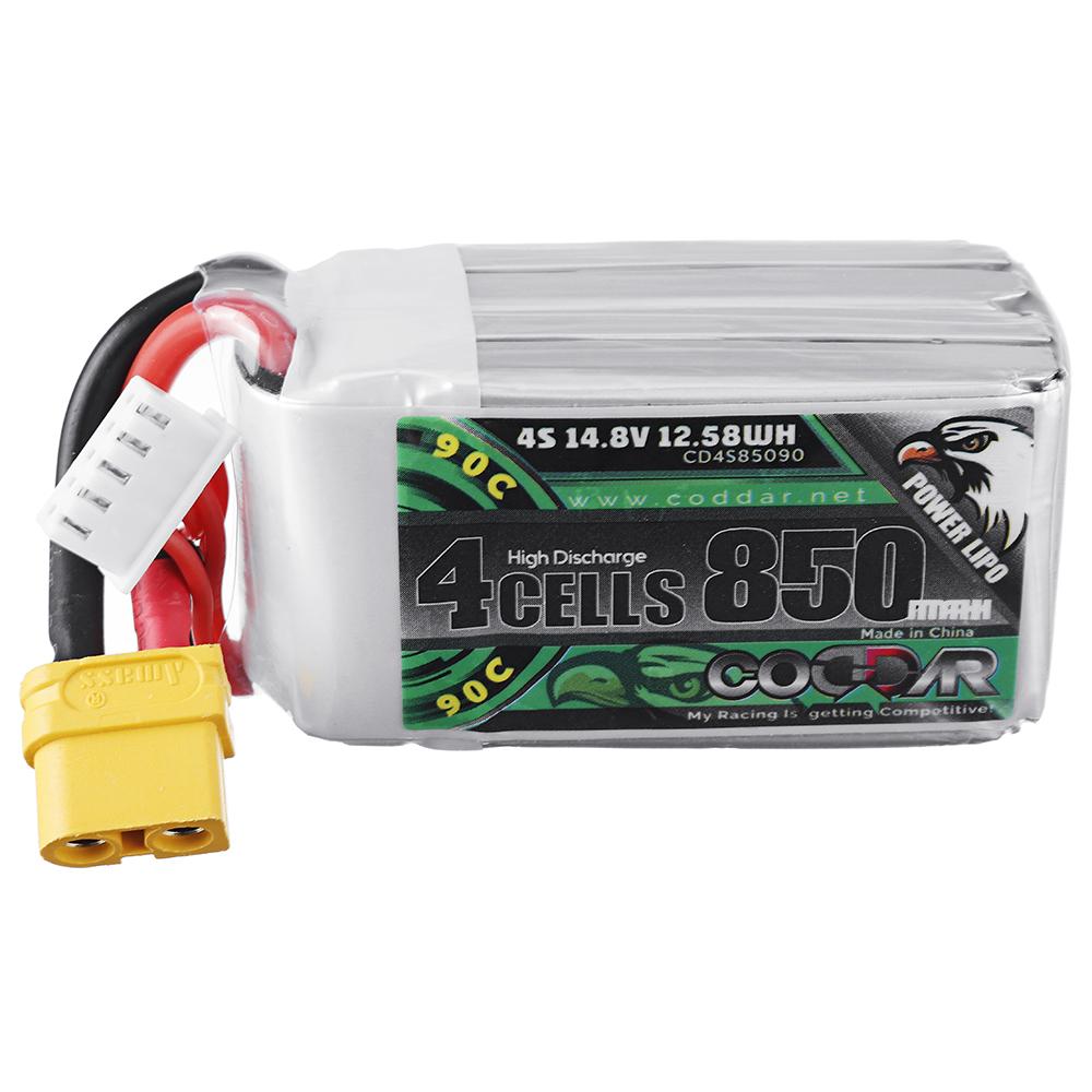 CODDAR 14.8V 850mAh 90C 4S Lipo Battery XT30/XT60 Plug for UAV FPV Indoor Racing Drone
