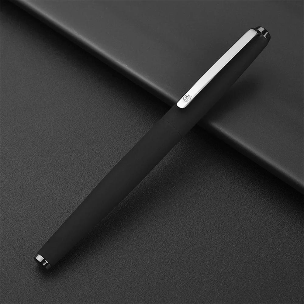 HongDian 517D Matte Black Metal Fountain Pen Titanium Black EF/F Nib Ink Pen For School Office Supplies