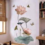 DIY Water Lilies Flower Chinese Calligraphy Wall Stickers Decal Home Decor Art Mural Decals Decor Removable Decal Decoration Kid for Home Office