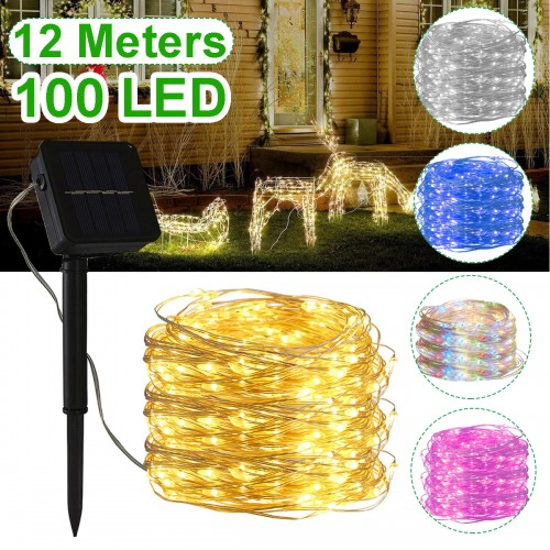 12M 100LED Solar String Light 8 Modes Waterproof Copper Wire Fairy Lamp Outdoor Garden Party Decor