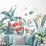 Fresh Green Tropical Plants Flowers Nordic Style Removable Wall Stickers Decals Home Decoration for Living Room Bedroom