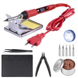 JCD 908S 80W Soldering Iron 220V 110V Temperature Adjustable LCD Soldering Iron Kit ESD Insulation Working Mat Soldering Station