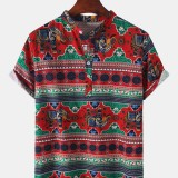 Cotton Mens Ethnic Print Short Sleeve Stand Collar Vintage Style Henley Shirts