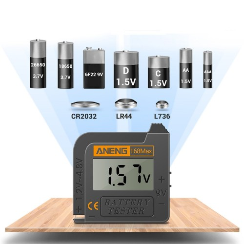 ANENG 168Max Digital Lithium Battery Capacity Tester Universal Test Checkered Load Analyzer Display Check AAA AA Button Cell