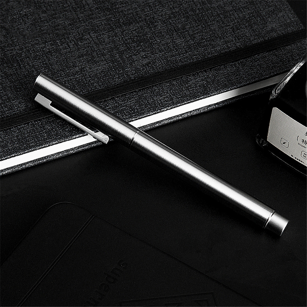 HongDian HD516 Metal Stainless Steel Fountain Pen Fine Nib 0.5mm Bright Silver Excellent Writing Gift Ink Pen for Business Office Home
