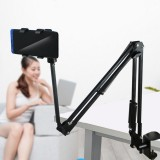 Universal 360 Rotation Adjustable Flexible Lazy Arm Online Course Aluminum Alloy Bed Table Mobile Phone Tablet Stand for 12-18cm Width Smart Phone Tablet for iPad Pro
