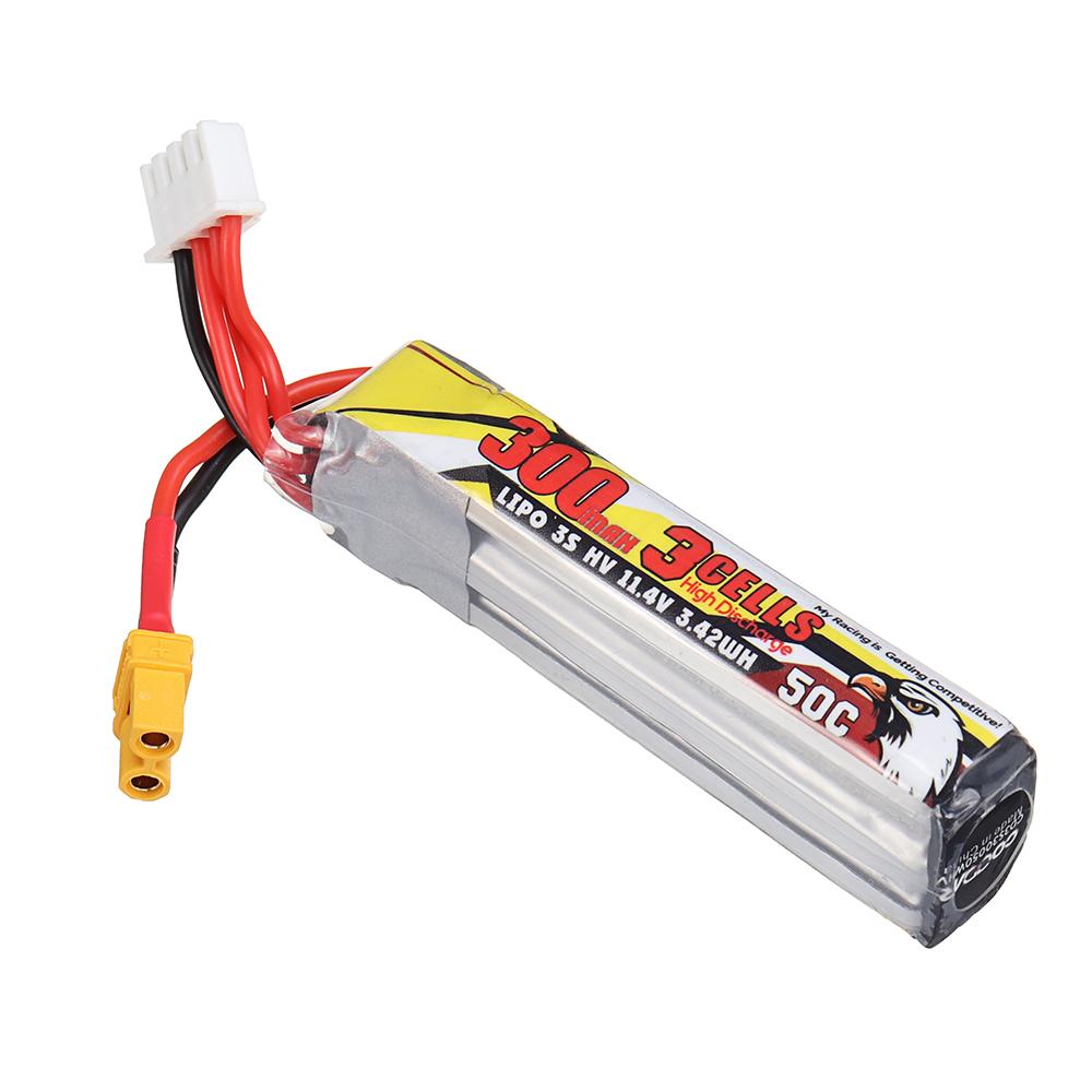 CODDAR 11.4V 300mAh 3S 50C HV Lipo Battery XT30 Plug for Happymodel Mobula7 V3 Toothpick Whoop