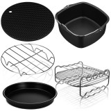 5Pcs Air Fryer Accessories Baking Basket Cake Barrel Pizza Pan Tray Pot for Kitchen