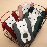 Women Faux Leather Super Cute Cat Kitty Pattern 6.3 Inch Phone Bag Small Storage Bag Crossbody Bag