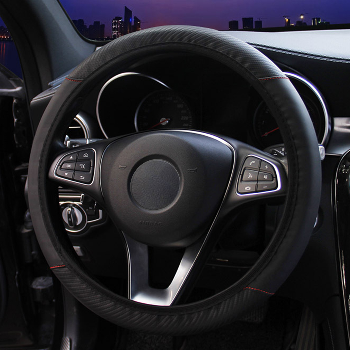 Universal Carbon Fiber PU Leather Car Steering Wheel Cover Protective