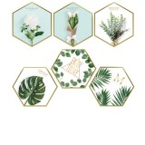 6Pcs Wall Sticker Set Nordic Style Plant Pattern Hexagon Shape Wall Sticker Home Bedroom Living Room Decoration