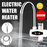 Bakeey 220V 3000W Electric Hot Water Faucet LED Display Instant Heating Kitchen Water Heater Stainless Steel Heating Dual Purpose Faucet