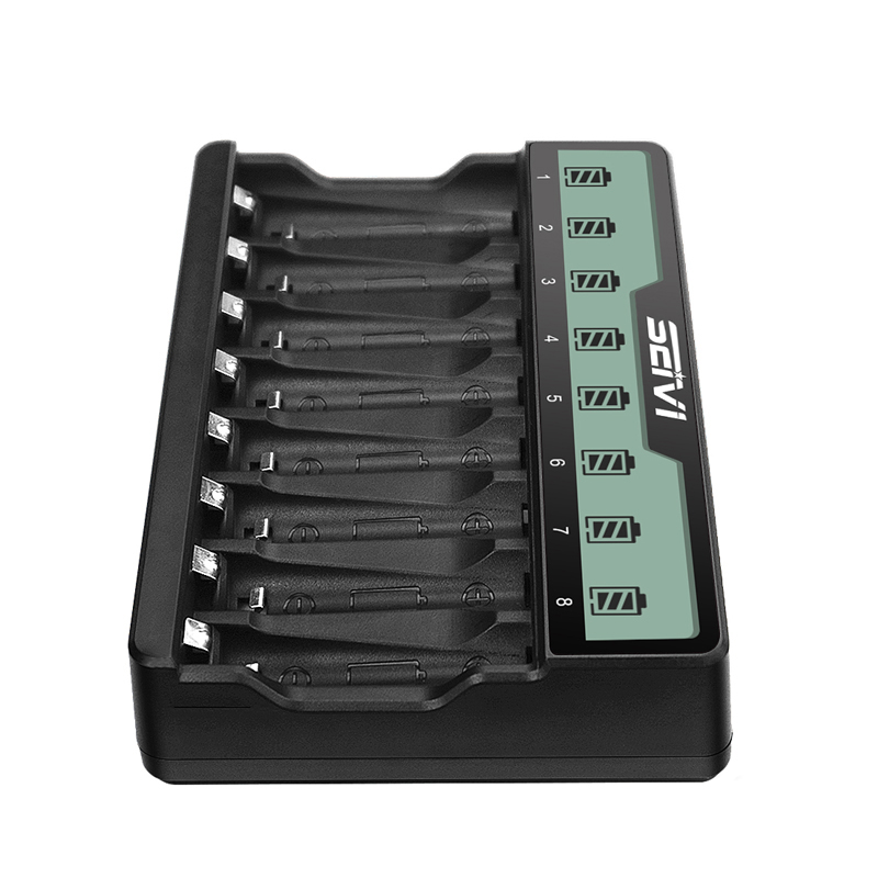 SEIVI SW-8NP 8-Slots AA&AAA Smart Fast Battery Charger with LCD Display for Ni-MH Ni-CD AA AAA Rechargeable Batteries