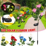 LED Solar Rose Flower Lawn Light Outdoor Garden Stake Lamp Landscape Path Yard Lamp Decor
