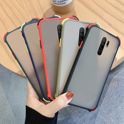 Bakeey Armor Airbags Anti-Fall Anti-Fingerprint Matte Translucent Hard PC + Soft Silicone Edge Protective Case for Xiaomi Redmi 9